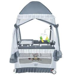 4-in-1 Baby Playard Portable Infant Crib Bassinet Bed w/ Cha