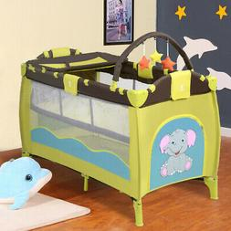 Baby Crib Playpen Playard Pack Travel Infant Bassinet Bed Fo