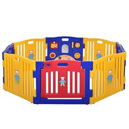 JAXPETY Baby Playpen Kids 8 Panel Safety Play Center Yard Ho