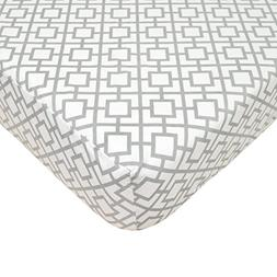 TL Care 100% Cotton Percale Fitted Crib Sheet, Gray Lattice