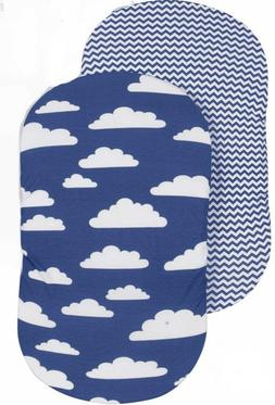BaeBae Goods Jersey Cotton Fitted Bassinet Pad Cover - Blue