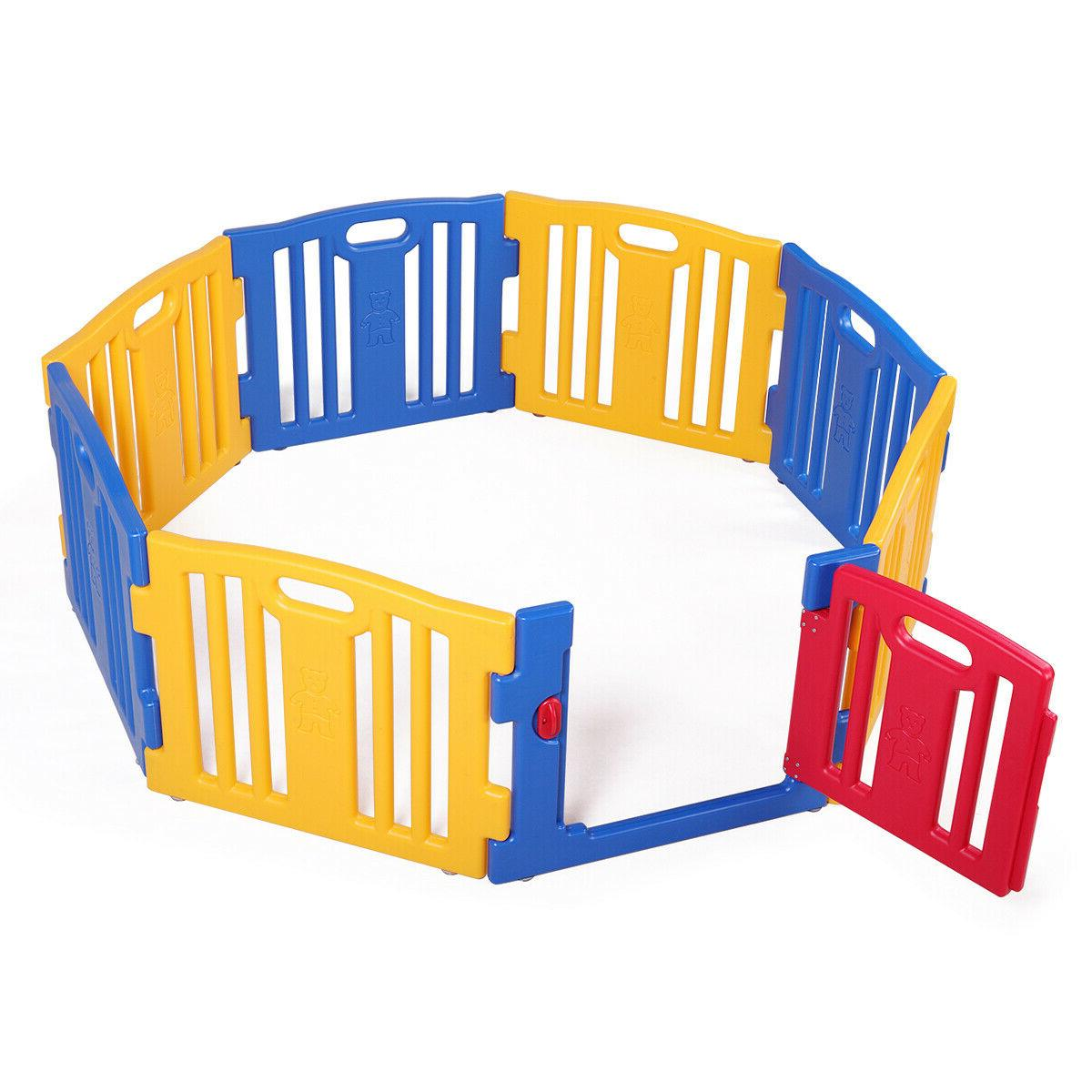 Baby Kids 8 Panel Center Yard Home Fence Outdoor