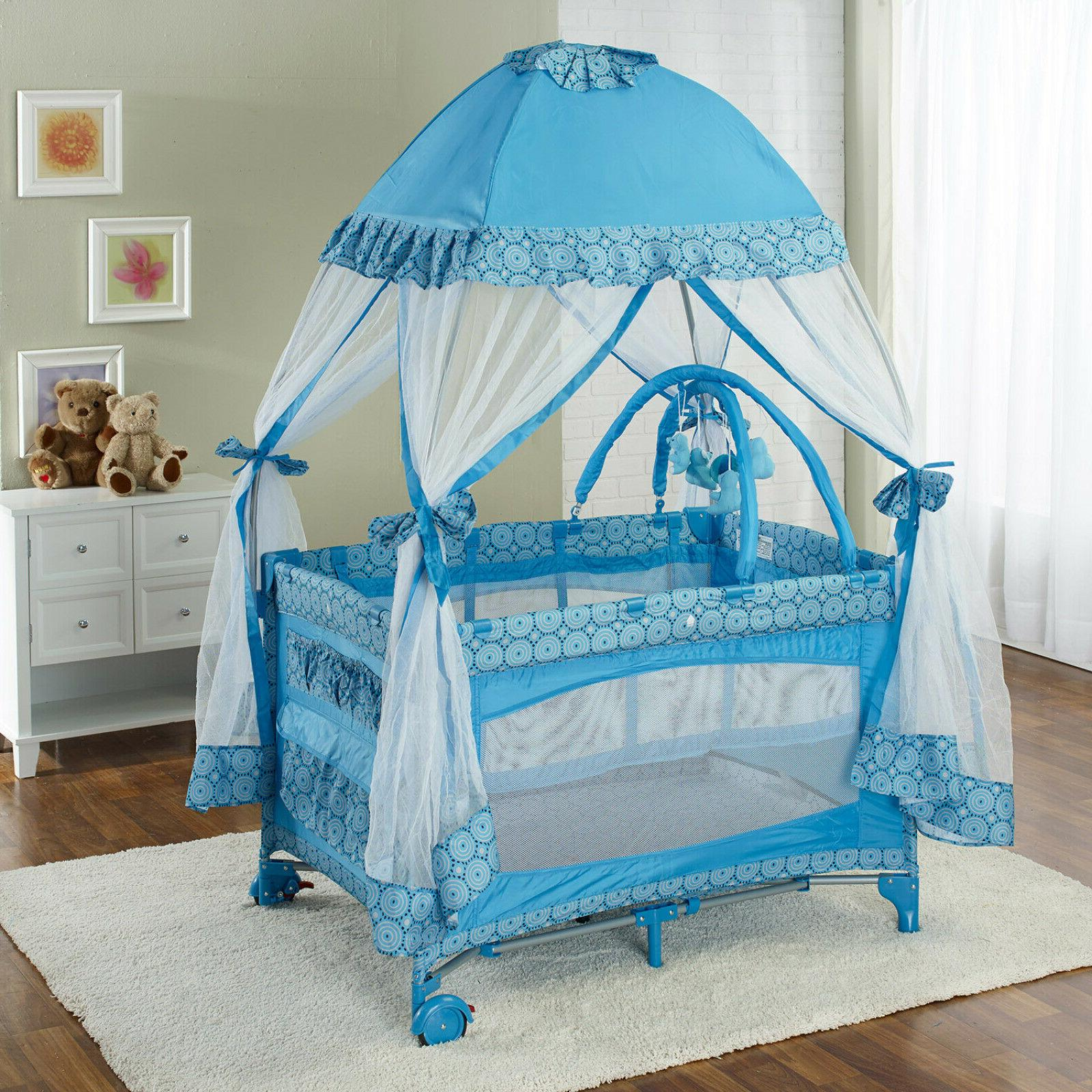Big Oshi Portable Deluxe Playard With Durable Canopy Net Top