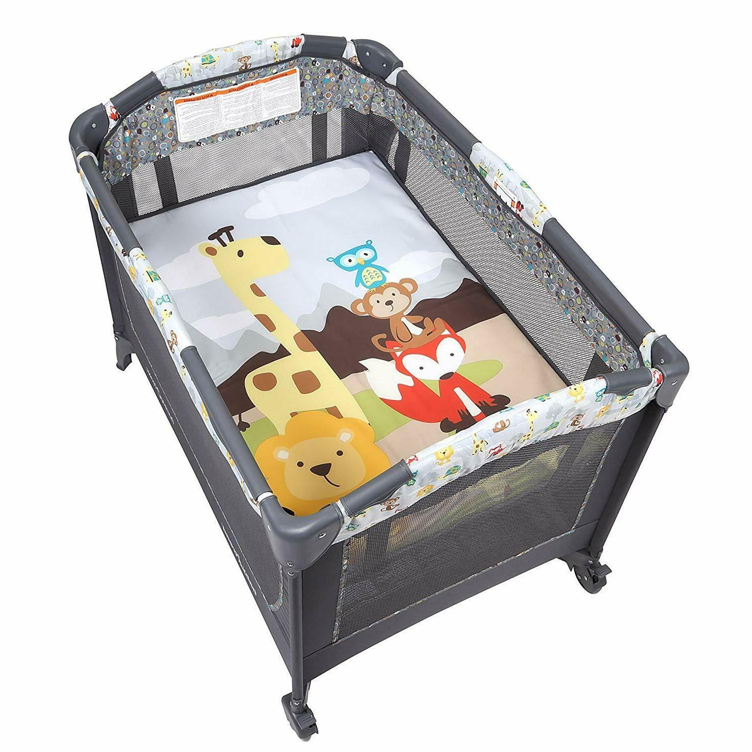 Baby Nursery Center Playard and Play Neutral Bassinet Crib...