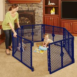 North States 6 Panel Superyard Portable Indoor Gate Playard Walk Trough Outdoor