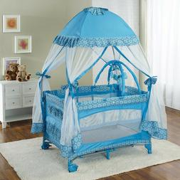 Big Oshi Portable Playard Deluxe Bundle - Nursery With Canop