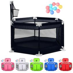 Portable Safety Playard PlayPen Washable for Infant Baby Bas