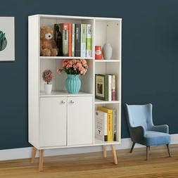 White Wide Storage Book Display Bookshelf With Drawer